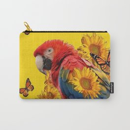 TROPICAL BLUE MACAW & MONARCH BUTTERFLIES SUNFLOWER ART Carry-All Pouch