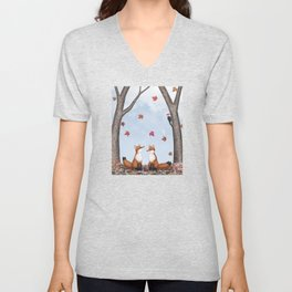 foxes, falling leaves, & pileated woodpecker Unisex V-Neck