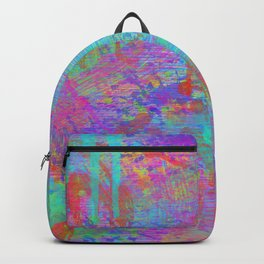 Whimsical pink teal neon green yellow abstract watercolor Backpack