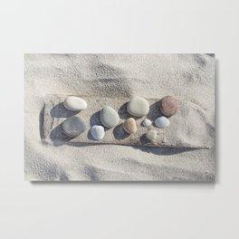 Beach pebble driftwood still life Metal Print