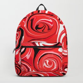 Red Apple Abstract Swirls Pattern Backpack