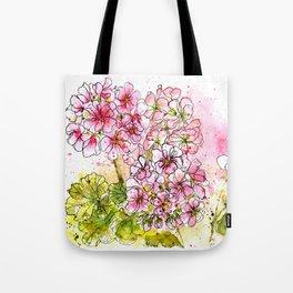 Pink Geraniums Watercolor Painting Tote Bag
