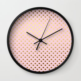 Princesslike - pink and gold elegant heart ornament pattern Wall Clock