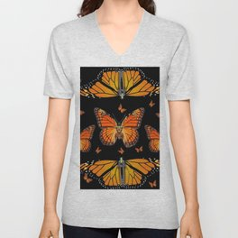 ABSTRACT ORANGE MONARCH BUTTERFLIES BLACK  PATTERNS Unisex V-Neck