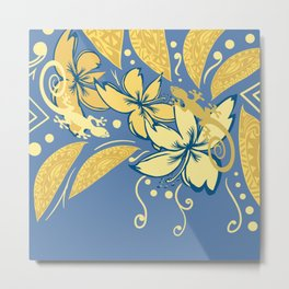 Samoan Orchid Sunset Polynesian Floral Metal Print