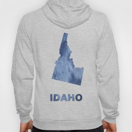 Idaho map outline Blue clouds watercolor pattern Hoody