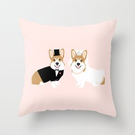 Corgi Bride and Groom - cute dog wedding, corgi wedding, dog, dogs, summer cute Throw Pillow