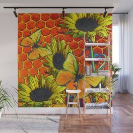 ORANGE-YELLOW BUTTERFLIES & SUNFLOWERS ARTISTIC HONEYCOMB DRAWING Wall Mural