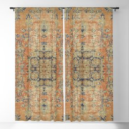 Vintage Woven Coral and Blue Blackout Curtain