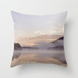 Into the Mists of Dawn Throw Pillow