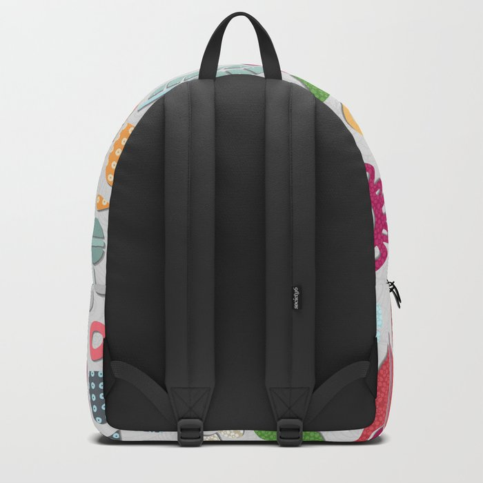 paper cut flowers silver Backpack