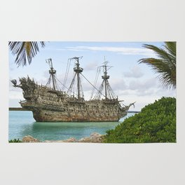 Pirate ship in the Caribbean Rug