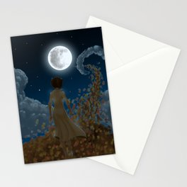 The moon and Leaves Stationery Cards