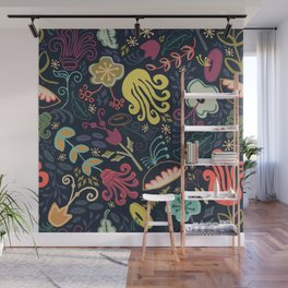 Navy Vintage Floral // Hand Drawn Funky Flowers, Bright & Cheery Wall Mural