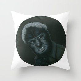 The Wolf Man on vinyl record print Throw Pillow