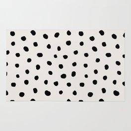 Modern Polka Dots Black on Light Gray Rug