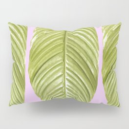 Three large green leaves on a pink background - vivid colors Pillow Sham