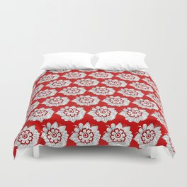 Background abstract red doodle-flowers, pattern, vector, texture design. Duvet Cover