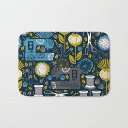 Garden of Sewing Supplies - Navy Bath Mat