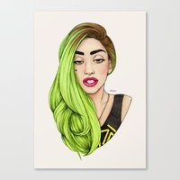 lady gaga Canvas Prints featuring Lady Neon by Helen Green