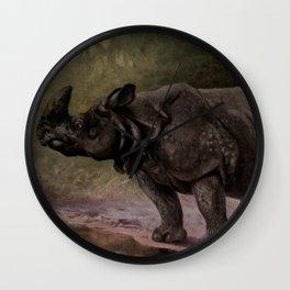 Vintage Rhinoceros Painting (1909) Wall Clock