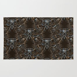 Hawkmoth Pattern in blues and browns Rug