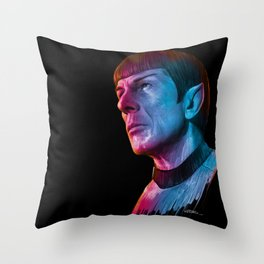"Homage to Leonard Nimoy - Mr. Spock ""Star Trek"" (colored version) Throw Pillow"