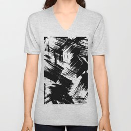Modern black white watercolor brushstrokes pattern Unisex V-Neck