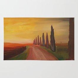 Tuscany Alley Way with Cypress at Dusk Rug