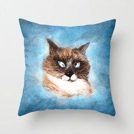 Mumbai the Cross-Eye Cat (Pet Portrait Watercolor) Throw Pillow