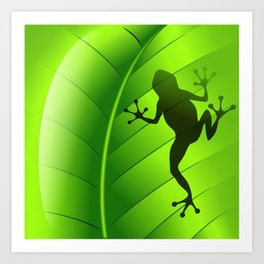 Frog Shape on Green Leaf Art Print