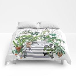 greenhouse illustration Comforters