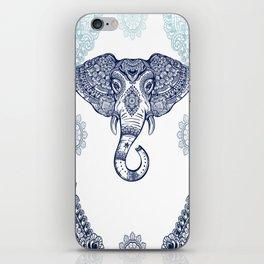 Bohemian Elephant Tribal Boho Gradient Blue iPhone Skin