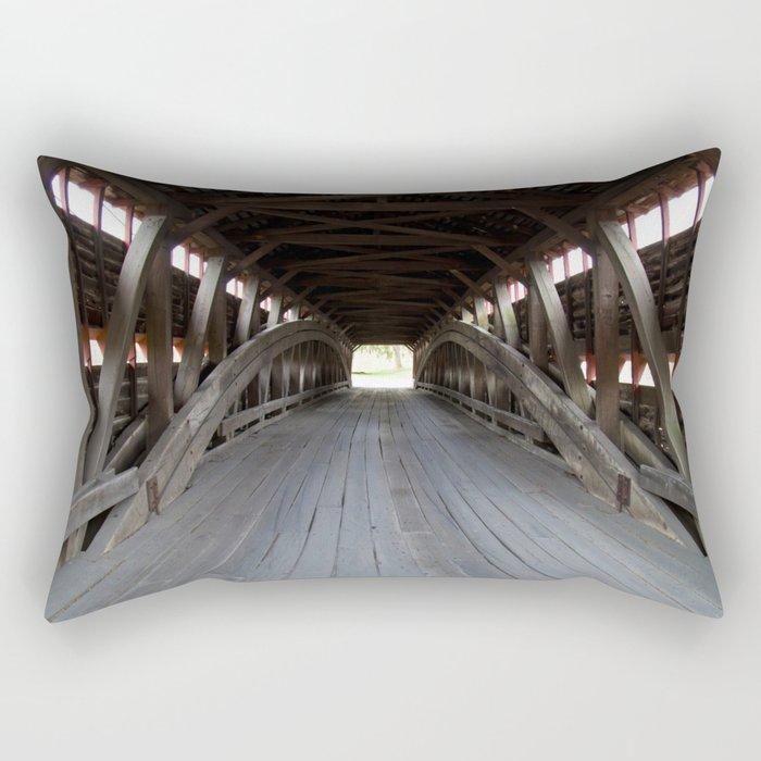 Inside A Covered Bridge Rectangular Pillow