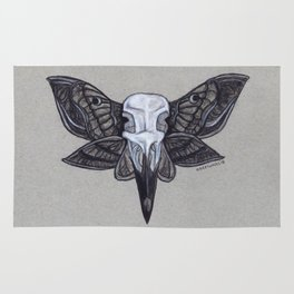 Crow Skull w/Moth Wings Rug