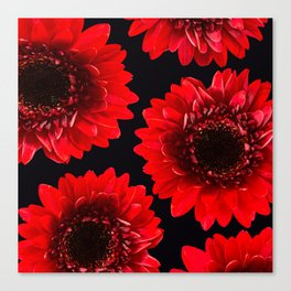 Red Flowers On A Black Background #decor #buyart #society6 Canvas Print