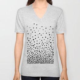Black Polka Dot Rain Unisex V-Neck