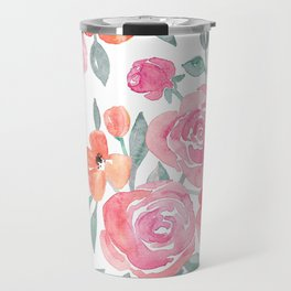 Amelia Floral in Pink and Peach Watercolor Travel Mug