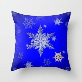 """""""MORE SNOW"""" BLUE WINTER ART DESIGN Throw Pillow"""