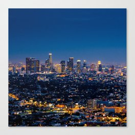 Los Angeles, California, I love LA Downtown Skyline, Golden lights, USA Sunset Blvd, Palms, Cali Map Canvas Print