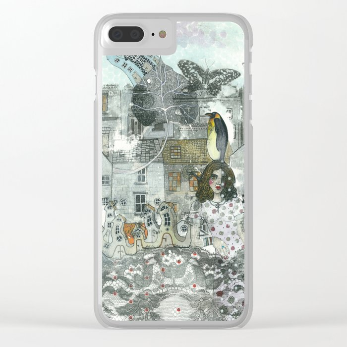 """""""A Woman in the Old Town"""" Clear iPhone Case"""