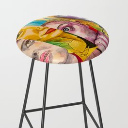 Female Faces Portrait Collage Design 1 Bar Stool