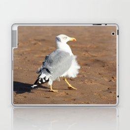 Seagull in a windy day with ruffled feathers Laptop & iPad Skin