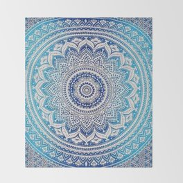 Teal And Aqua Lace Mandala Throw Blanket