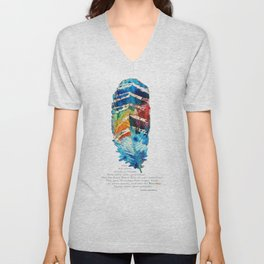 Colorful Feather Art -  Blessing - By Sharon Cummings Unisex V-Neck