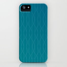 Wave pattern in teal iPhone Case