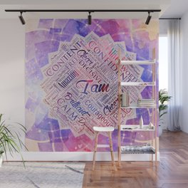 I am Affirmations Word Cloud Art in lotus Wall Mural