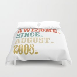 Awesome Since August 2008 10 Year Old Vintage Gift Duvet Cover