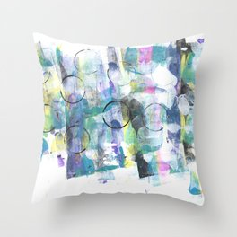 Green Blue Abstract with Black Circles Throw Pillow