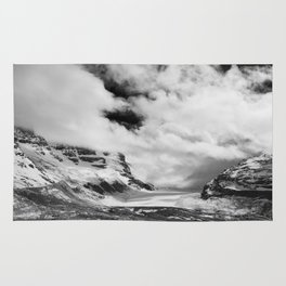 Mountains | Glaciers and clouds | Black and White | photography Rug